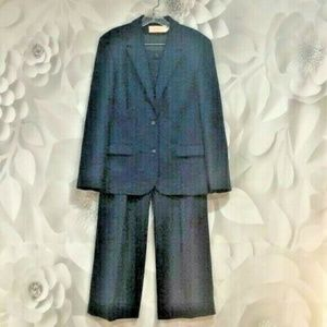 Pendleton Blue 2pc Wool Pantsuit Blazer Pants 16